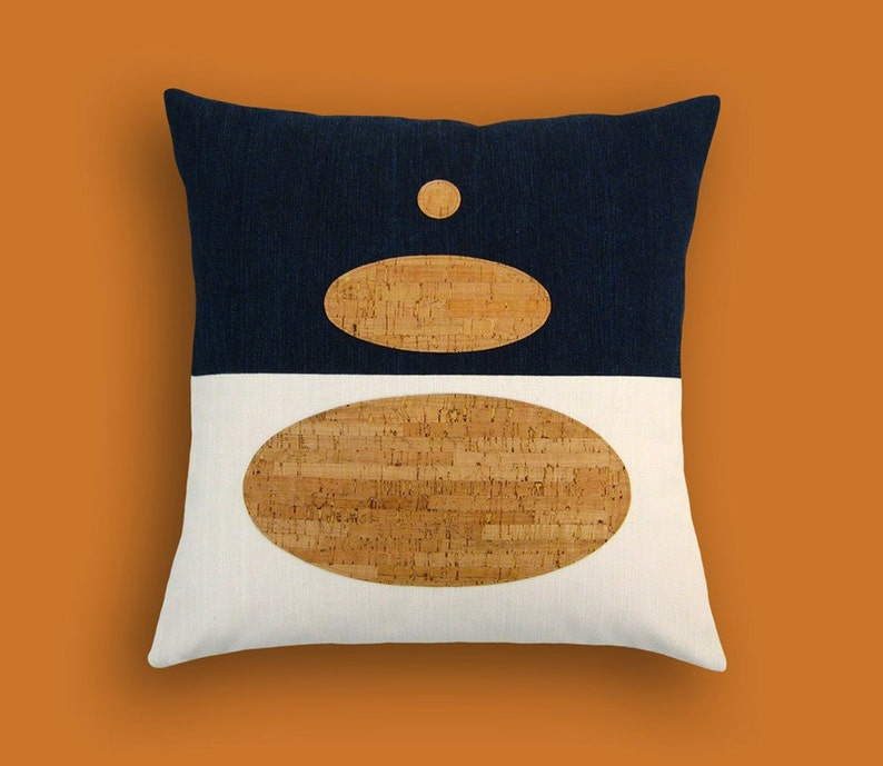 Indigo Denim and Cork Modern Decorative Pillow 17 x 17 inches image 0