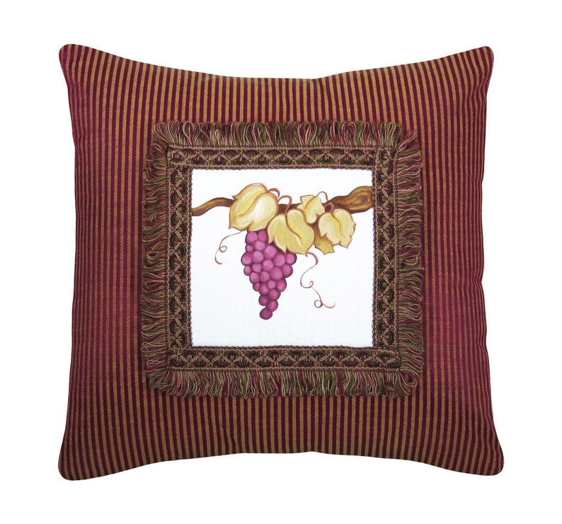 Handpainted Grapes Decorative Pillow Purple and Gold Damask image 0