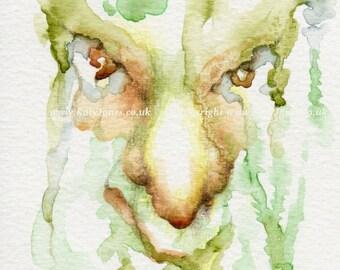 Green Man of Bark Painting - small watercolour original art