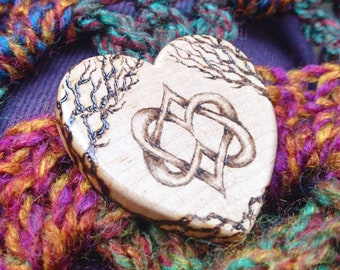 Celtic knotwork pyrography wooden brooch - entwined hearts and trees