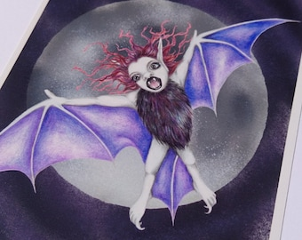 Pipistrelle Bat card - Bat Fairy, flittermouse, gothic fae, fantasy art, faery, faerie, blank card, goth greetings card, emo, vampire, print