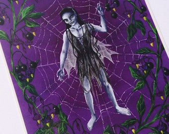 Gothic Fairy Card with Cobweb and Deadly Nightshade - dark fae, unseelie, fantasy art, faery, faerie, purple, spiderweb, blank card, goth