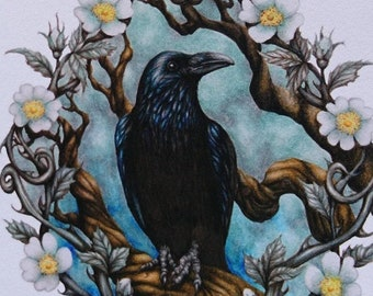 Raven Greetings Card with moths, magic books & mushrooms - bird art card