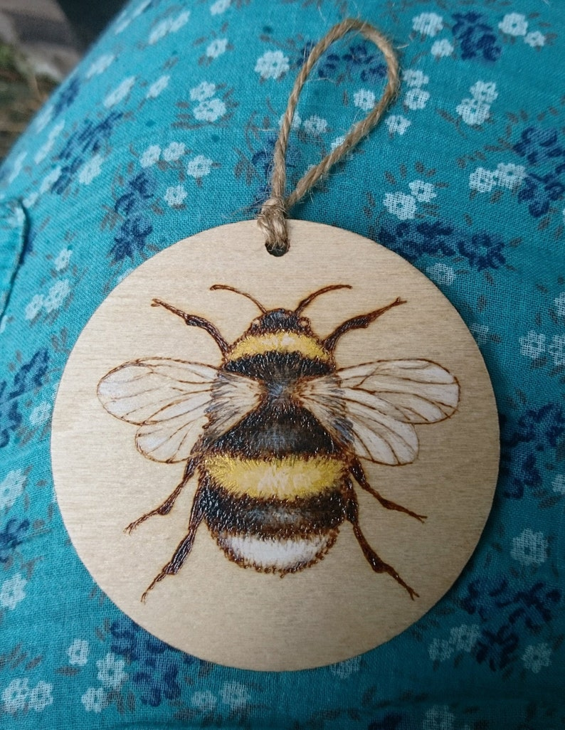 Bumblebee wall art gold painted pyrography hanging bee ornament