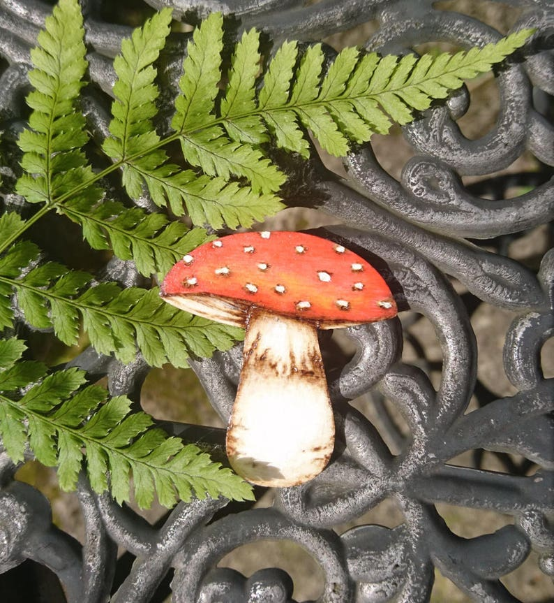 Fly Agaric Toadstool Wooden Brooch  Painted Pyrography image 0