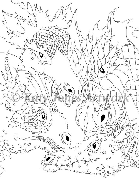 Dragon colouring page or digi stamp adult coloring or fun | Etsy