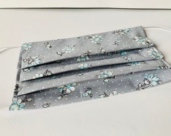 Washable face mask, double layer cotton dust mask with filter pocket gray with blue flowers