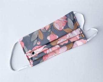 Washable face mask, double layer cotton dust mask with filter pocket, Gray with pink flowers