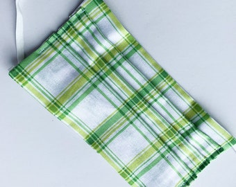 Reusable pleated face mask, washable dust mask green plaid double layer cotton fabric with filter pocket