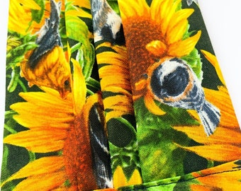 Reusable pleated face mask, washable dust mask sunflowers and birds on double layer cotton fabric with filter pocket face covering