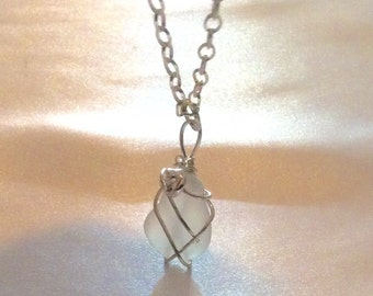 Large White Sea Glass Wire wrapped Sterling Silver Necklace WAS 45.00 now 39.00