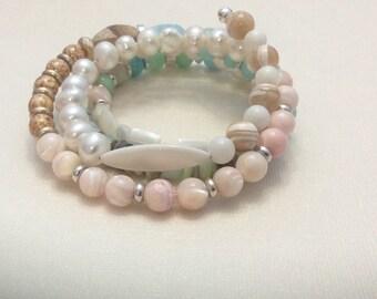 Soft Colorful Multi Gemstone Wire Bracelet  Summer  Sale 20% OFF