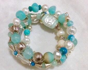 Summer Sale 20% OFF Beautiful Gemstone Lampwork Wire Bracelet