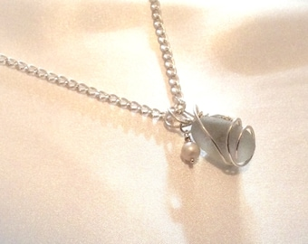 Large Seaglass Sterling Silver Wrapped Pendant Necklace