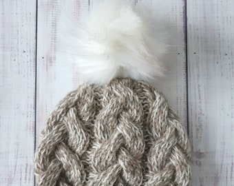 c6cd67cbf62 Chunky Braided Cable Wool Hat with faux fur Pompom