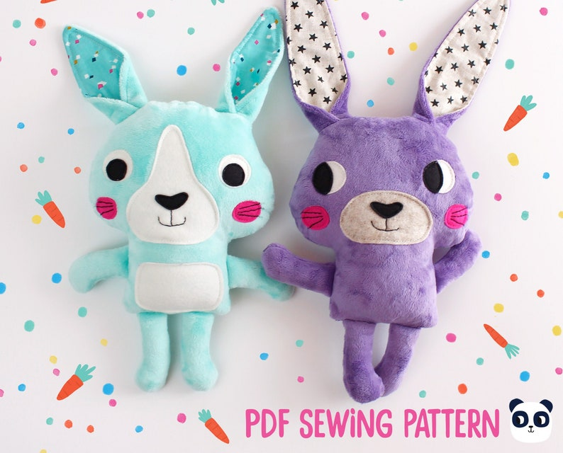 Rabbit plushie sewing pattern and tutorial sew your own bunny image 0