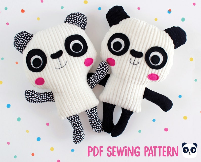 Panda plushie sewing pattern and tutorial sew your own cute image 0