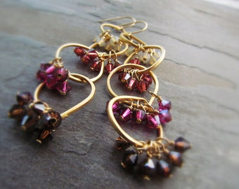 LYKKE-Golden Hoop Chandelier Earrings with Swarovski Crystals