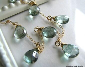 SEAFOAM-14Kt Gold Chain and Blue Green Quartz Briolettes Necklace