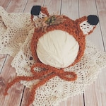 Fox Baby Hat - Newborn size - woodland - foxy - fall photo prop - baby bonnet - ready to ship - photography prop - animal hat - boy or girl