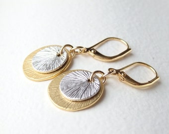 Gold and Silver Disc Earrings
