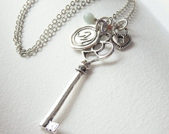 Vintage Style Skeleton Key and Wax Seal Monogram Long Necklace
