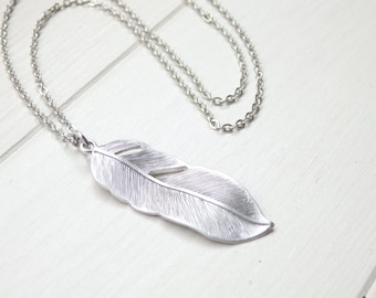 Silver Feather Long Necklace