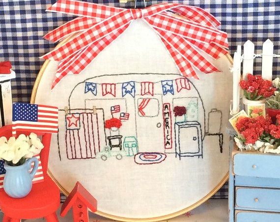 July Vintage Camper Trailer Embroidery PDF Pattern Monthly Series