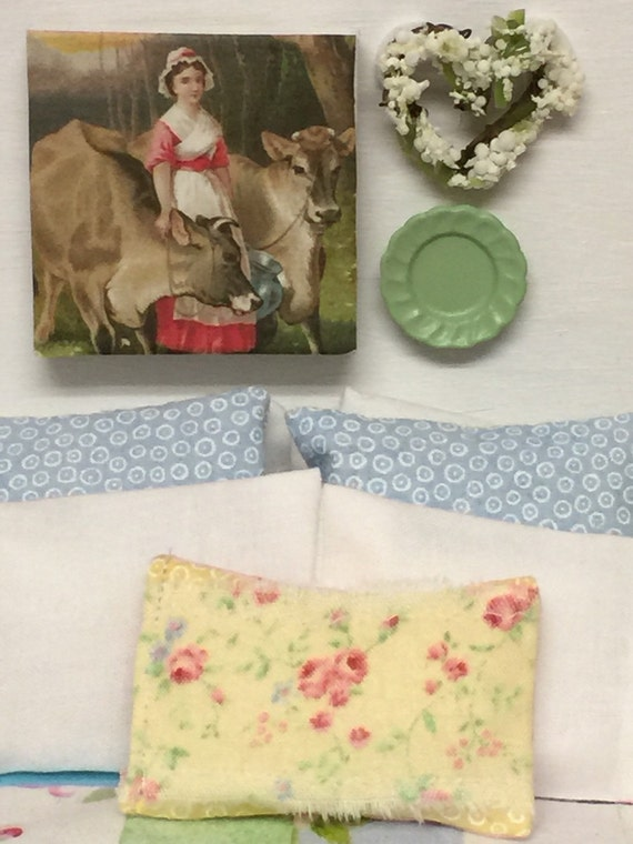 Farm Scene with Girl and Milk Cows in Miniature -1:12 scale