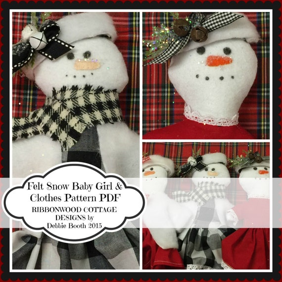 "Sewing Pattern PDF Pattern-Wool Felt Snowman Feltie Baby Girl Toy and Clothes Doll 7""- 8"""