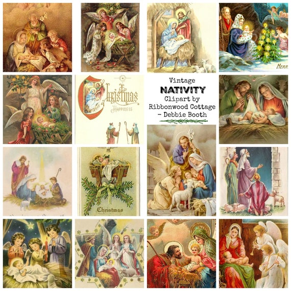 Vintage Nativity Christmas Clipart Immediate Download Print and Cut