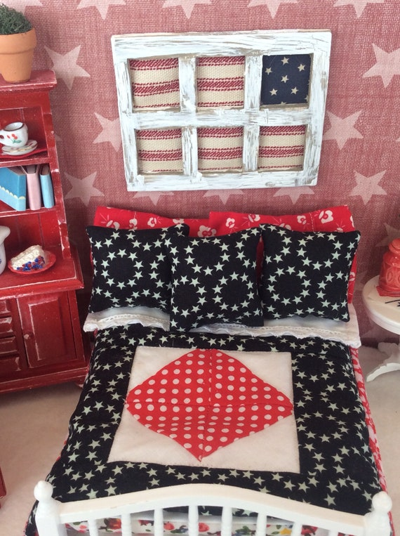 Miniature Americana Quilt, Bedding, Pillows only