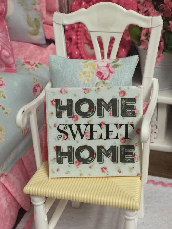 "Miniature Home Sweet Home 2""x 2"" canvas sign"