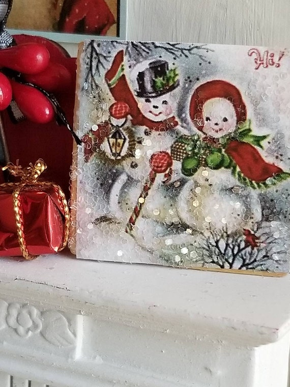 "Vintage Style Snowman Couple Art Canvas 2"" x 2"""