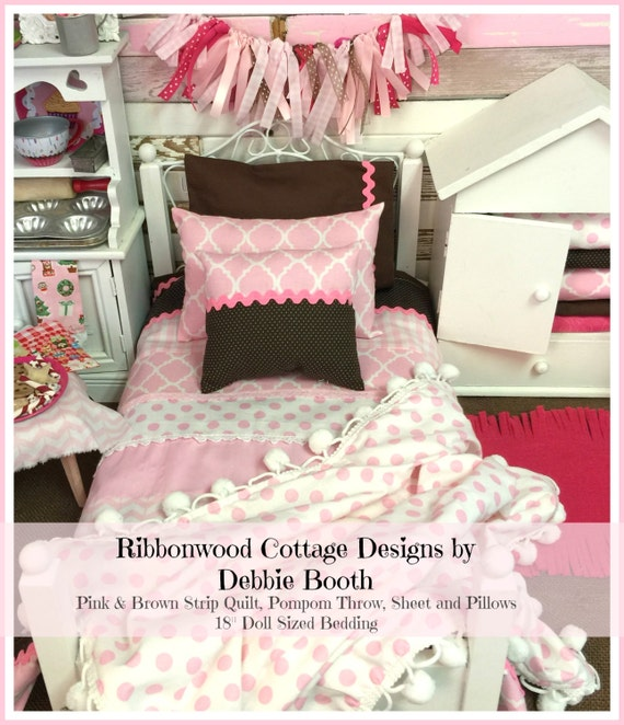 Sewing Pattern 18 inch Girl PDF Pattern Pink and Brown Strip Quilt, Sheet, Pillows and Pompom Throw- 18 inch doll size bedding