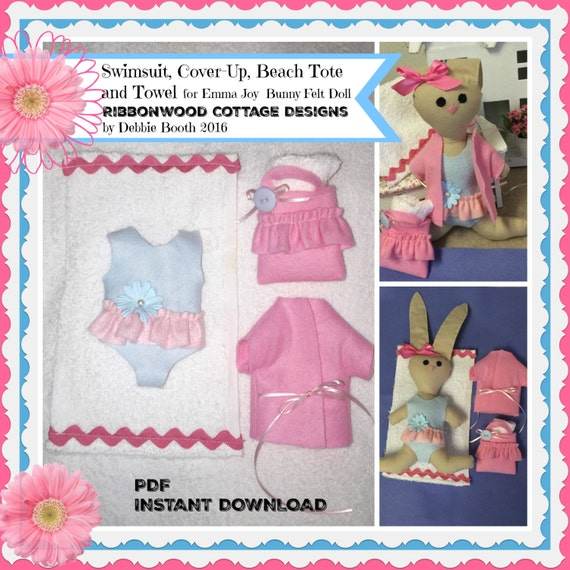 Sewing Pattern PDF Felt Beach Wardrobe Only for Emma Joy Bunny Doll-Pattern