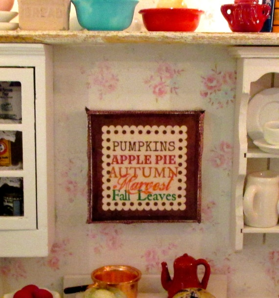 Fall  Autumn Dollhouse Miniature Sign-