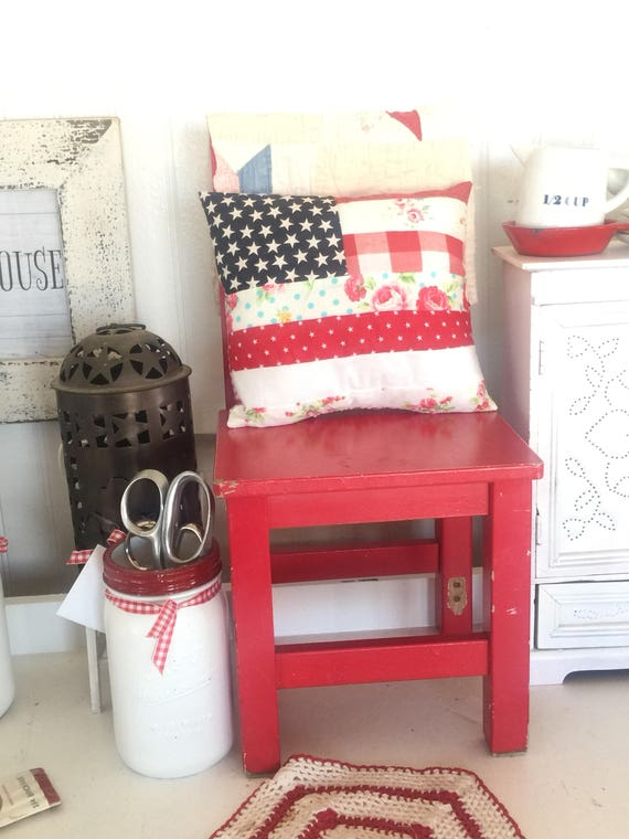 "Americana Cottage Flag Pillow- Real Size 8"" x 9"""
