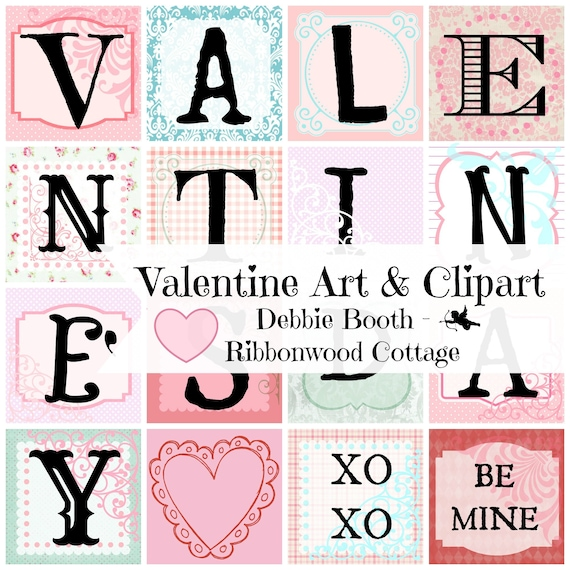 Valentine Clipart, Alphas, Words, Valentine Art - Digital Download