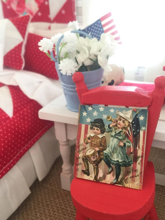 "Miniature Vintage American Patriotic Children Sign- dollhouse scale 1 1/2"" x 1 1/2"" wood backing"