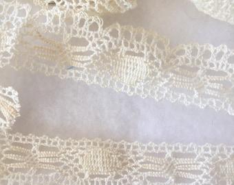 "Cream Lace - 1"" flat cotton lace - 4+yards"