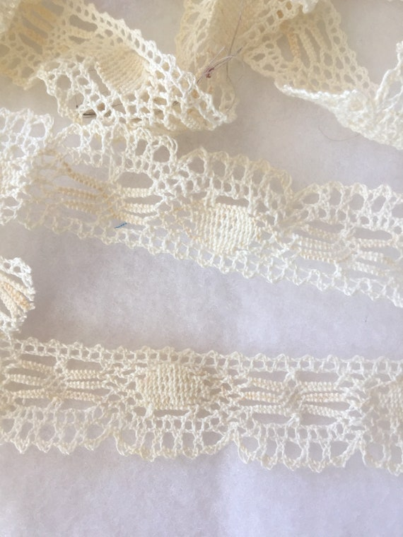 "Cream Lace - 1"" flat cotton lace - 4+yards"