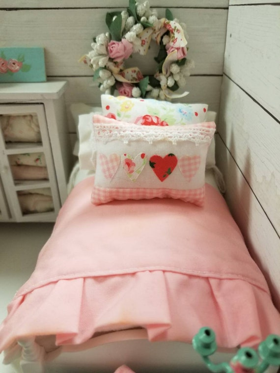 Miniature Pink and White Bedding, Heart Pillow and White wooden Vintage Bed