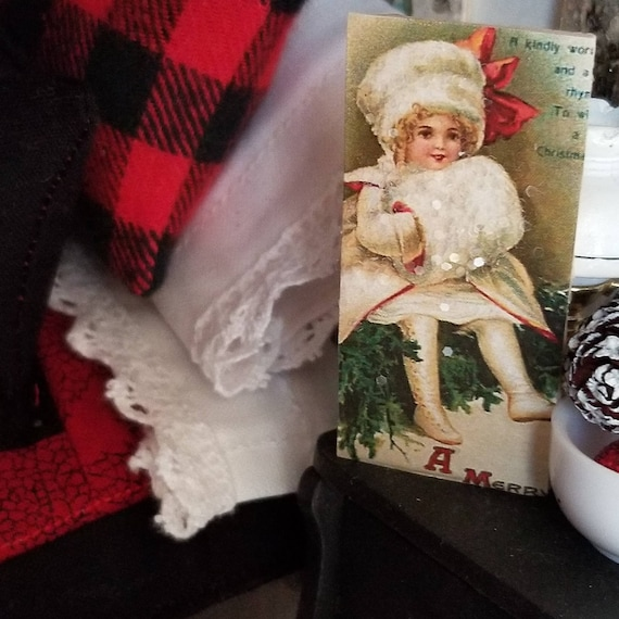 Miniature Vintage Style Christmas Girl sign