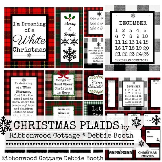 Christmas Plaid Digital Paper Clipart Planner Printable Background Paper - Immediate Download