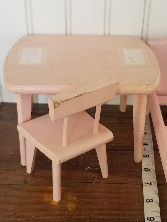 VINTAGE Wooden Pink Doll Table and Chair