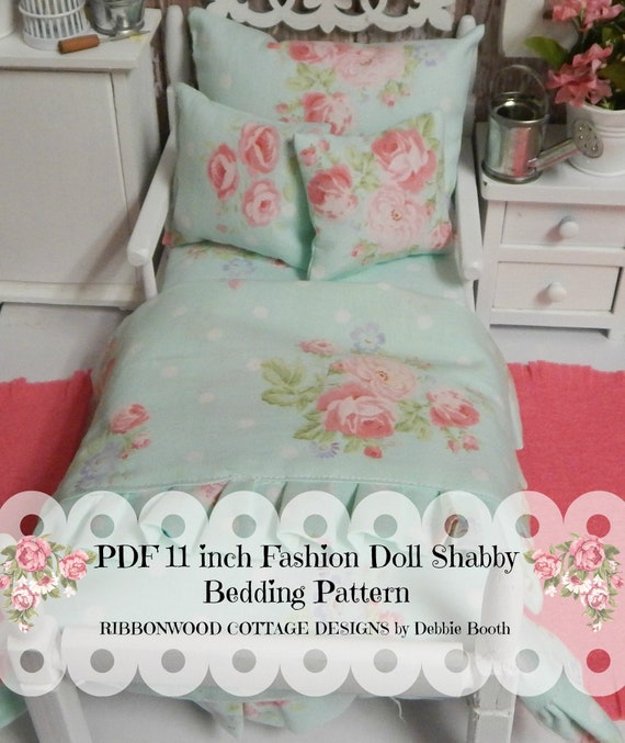 Sewing Pattern PDF 11 inch Fashion Doll Shabby Ruffled Doll Bedding Set PDF pattern