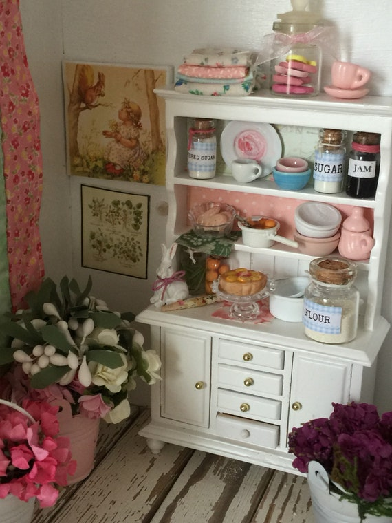 Shabby Spring Miniature China Hutch and Accessories