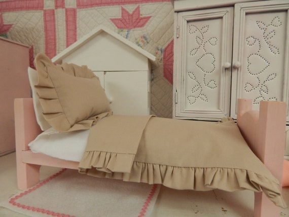 11 inch Doll sized Ruffled Comforter and Sham, Sheet, Blanket, Pillowcase and pillow