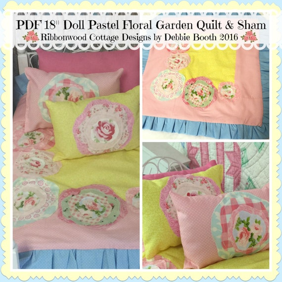 Sewing Pattern PDF 18 inch Girl Doll Pastel Garden Quilt and Sham